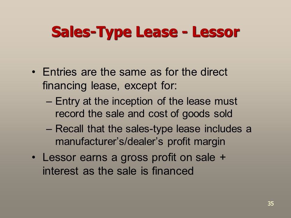 Sales-Type Lease - Lessor