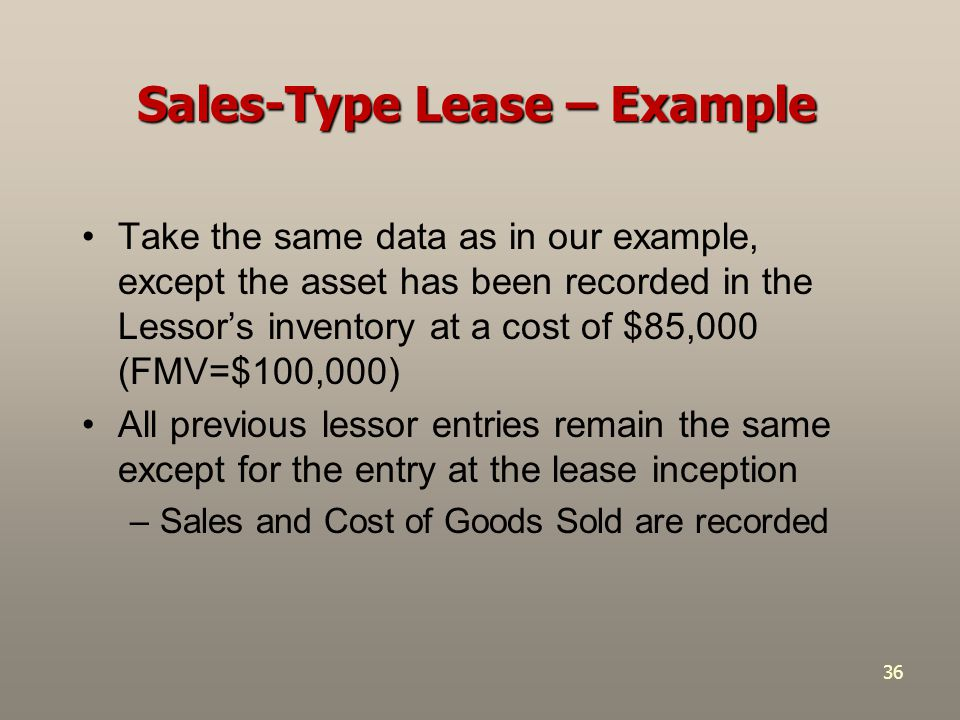 Sales-Type Lease – Example