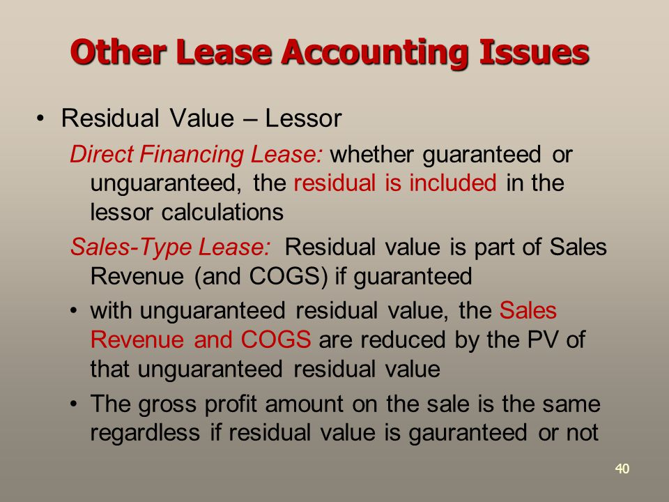 Other Lease Accounting Issues