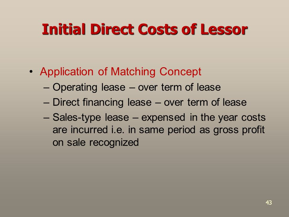 Initial Direct Costs of Lessor