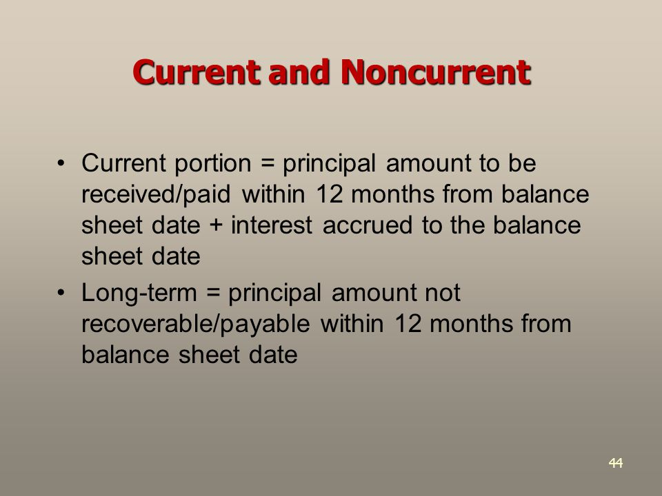 Current and Noncurrent