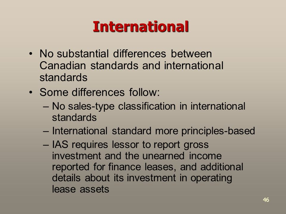 International No substantial differences between Canadian standards and international standards. Some differences follow: