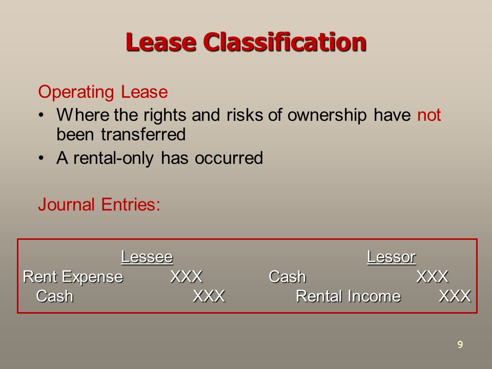 Lease Classification Operating Lease