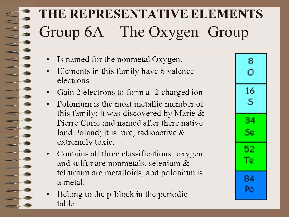 THE REPRESENTATIVE ELEMENTS Group 6A – The Oxygen Group