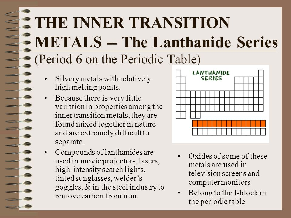 THE INNER TRANSITION METALS -- The Lanthanide Series (Period 6 on the Periodic Table)