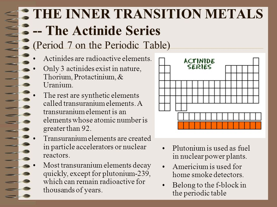 THE INNER TRANSITION METALS -- The Actinide Series (Period 7 on the Periodic Table)