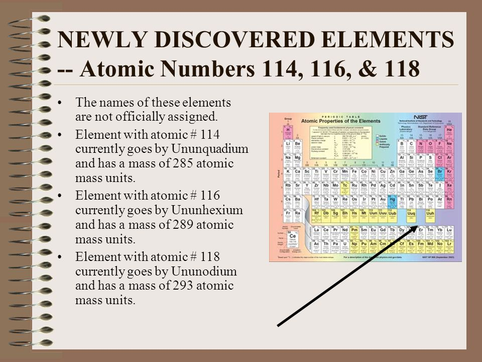 NEWLY DISCOVERED ELEMENTS -- Atomic Numbers 114, 116, & 118