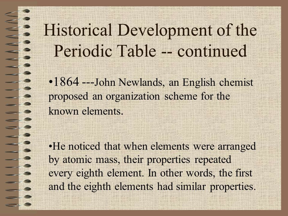 Historical Development of the Periodic Table -- continued