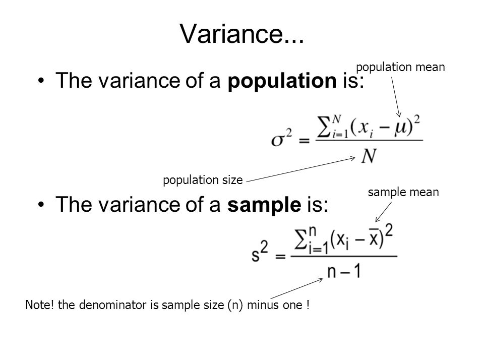 Note! the denominator is sample size (n) minus one !