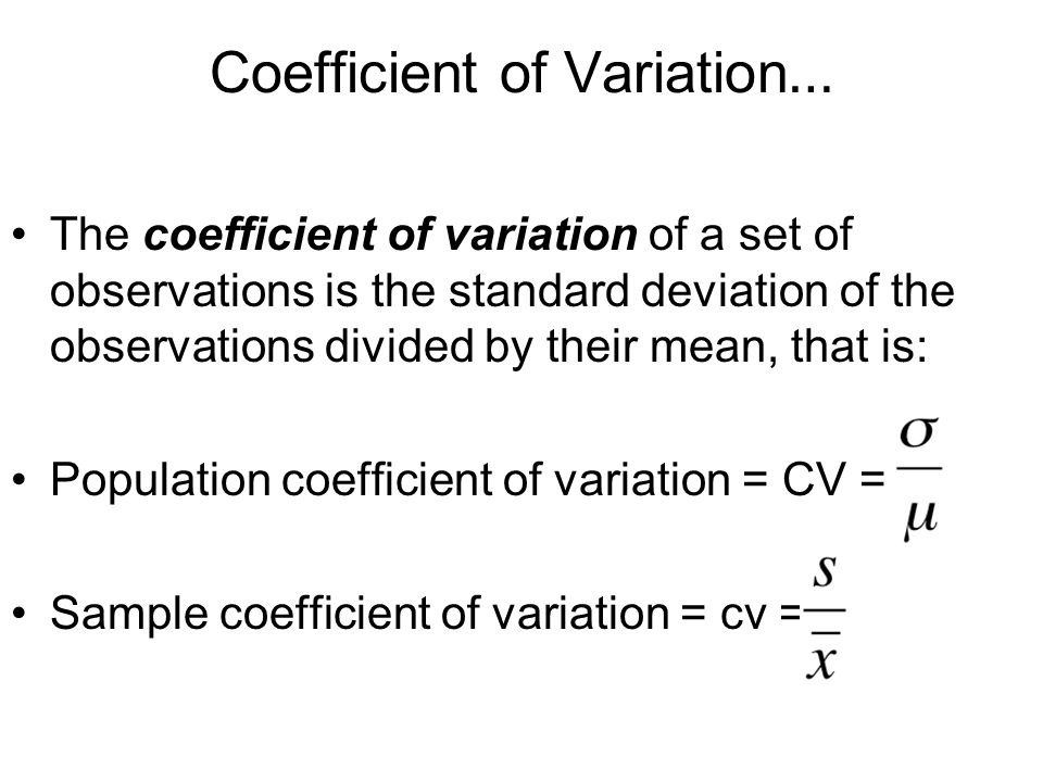 Coefficient of Variation…