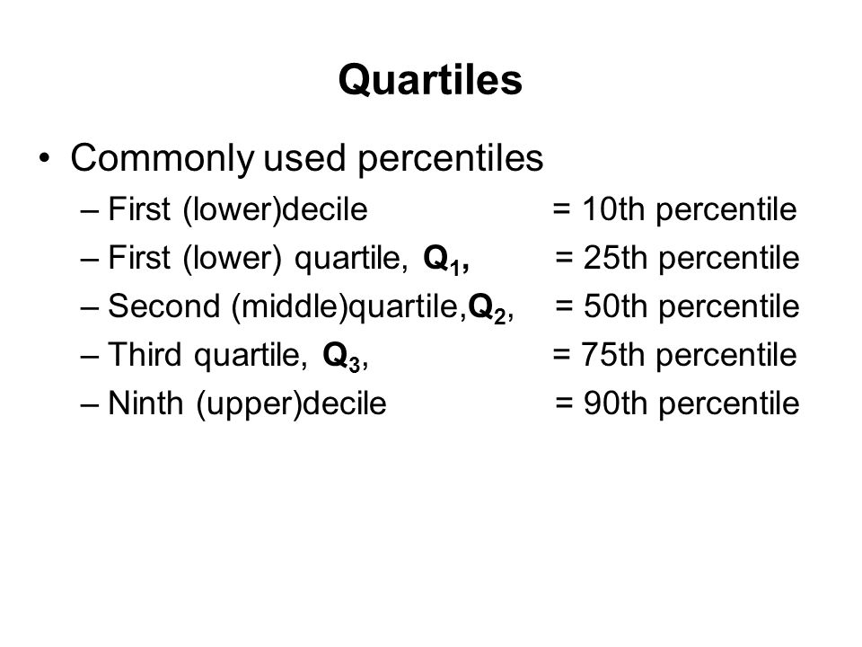 Quartiles Commonly used percentiles