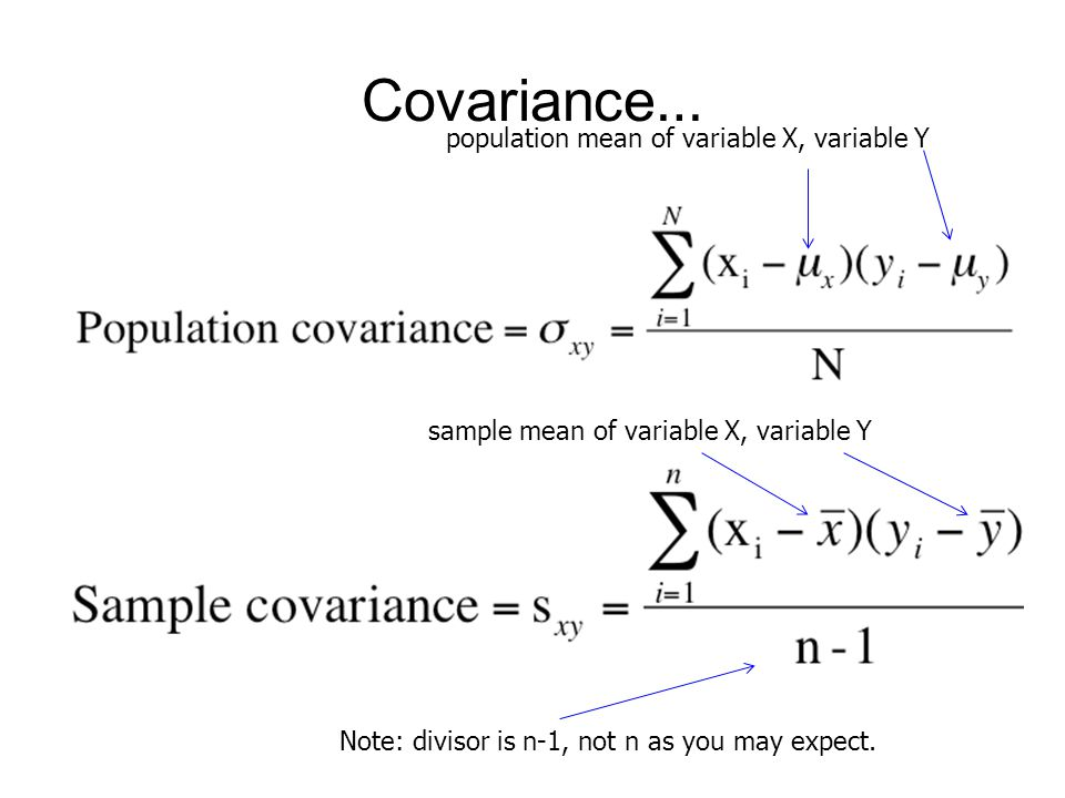 Covariance… population mean of variable X, variable Y