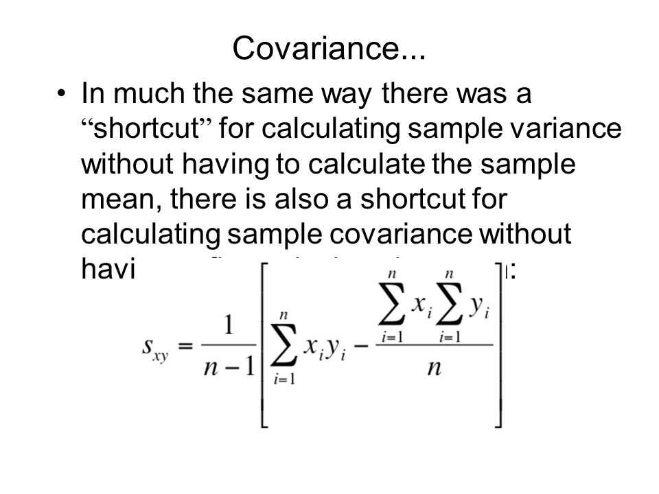 Covariance…