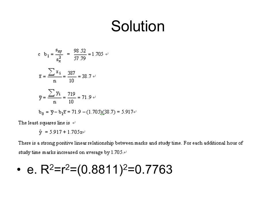 Solution e. R2=r2=(0.8811)2=0.7763