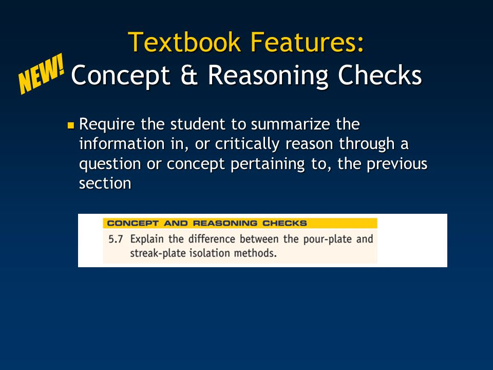 Textbook Features: Concept & Reasoning Checks