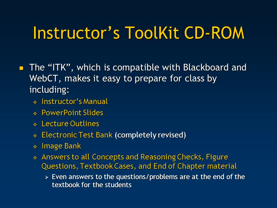 Instructor's ToolKit CD-ROM