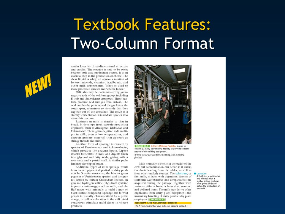 Textbook Features: Two-Column Format