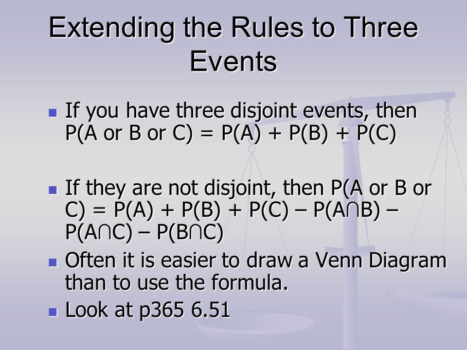 Extending the Rules to Three Events
