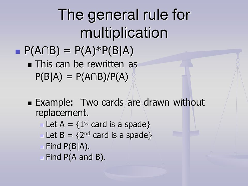 The general rule for multiplication