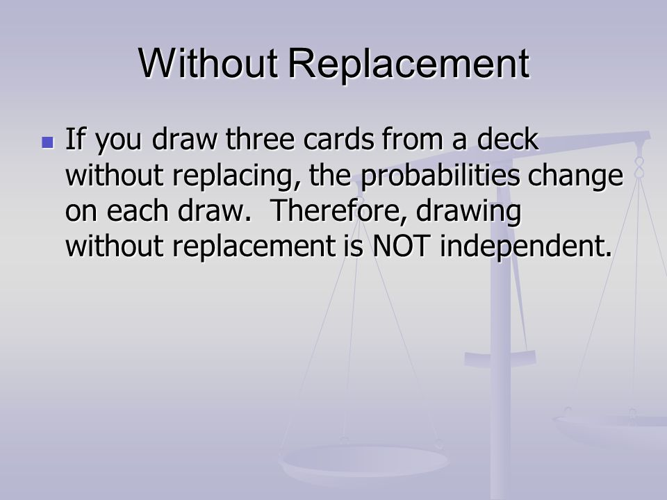Without Replacement