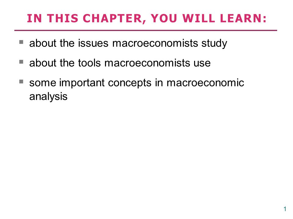 Important issues in macroeconomics