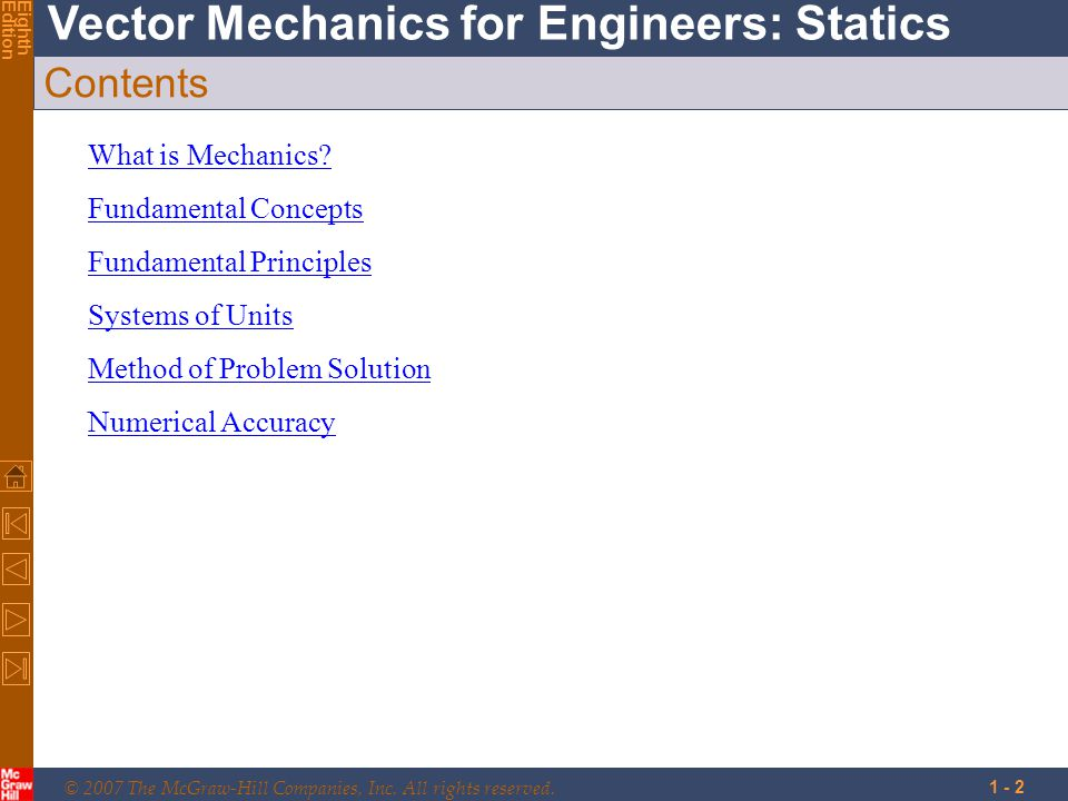 Contents What is Mechanics Fundamental Concepts