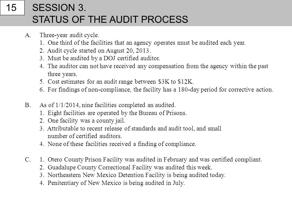 STATUS OF THE AUDIT PROCESS 15