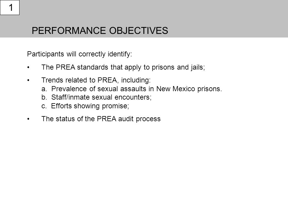 PERFORMANCE OBJECTIVES 1