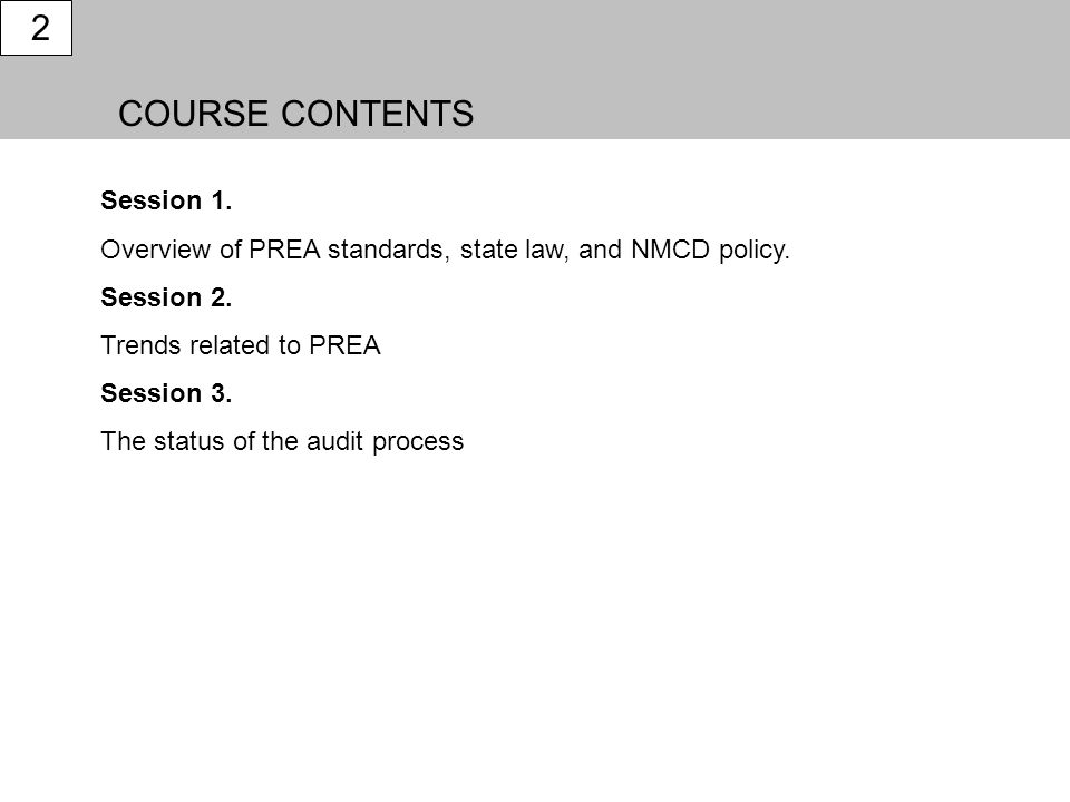 2 COURSE CONTENTS Session 1.