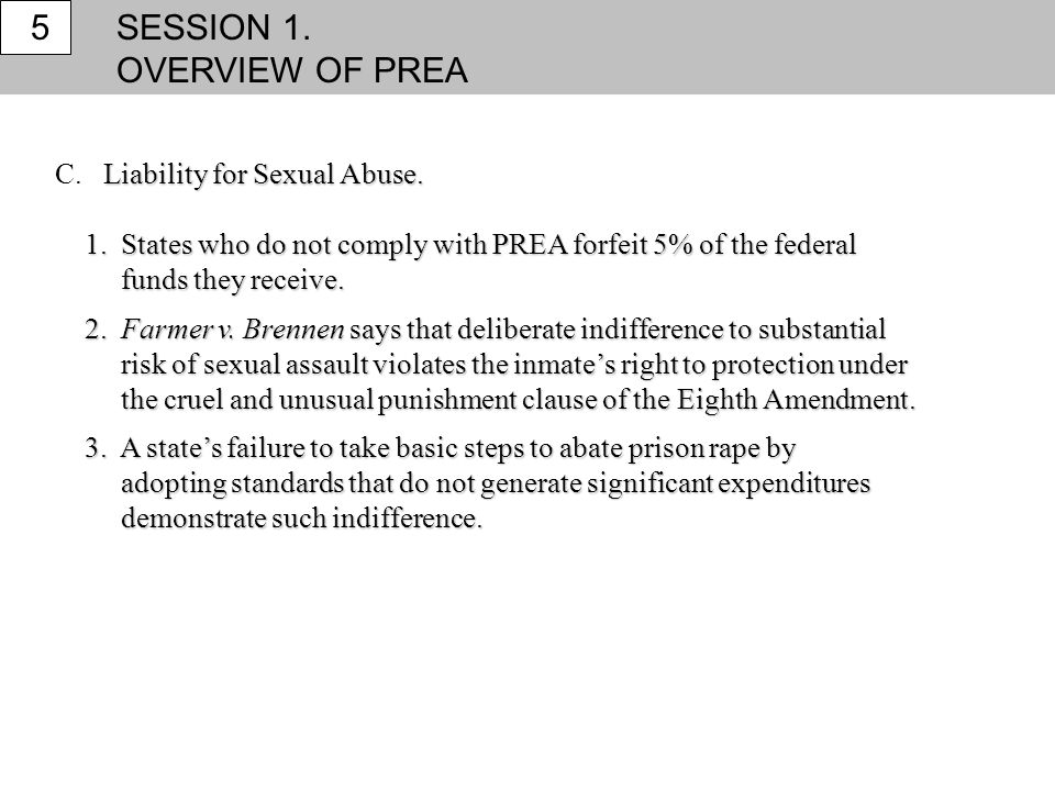 SESSION 1. OVERVIEW OF PREA 5 C. Liability for Sexual Abuse.