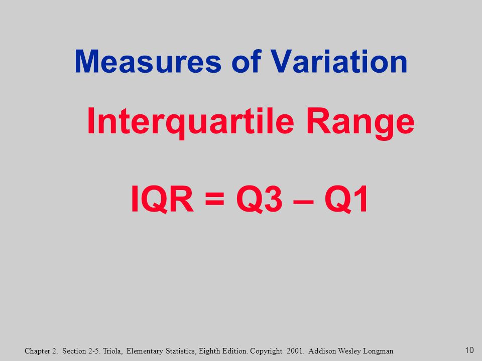 Interquartile Range IQR = Q3 – Q1