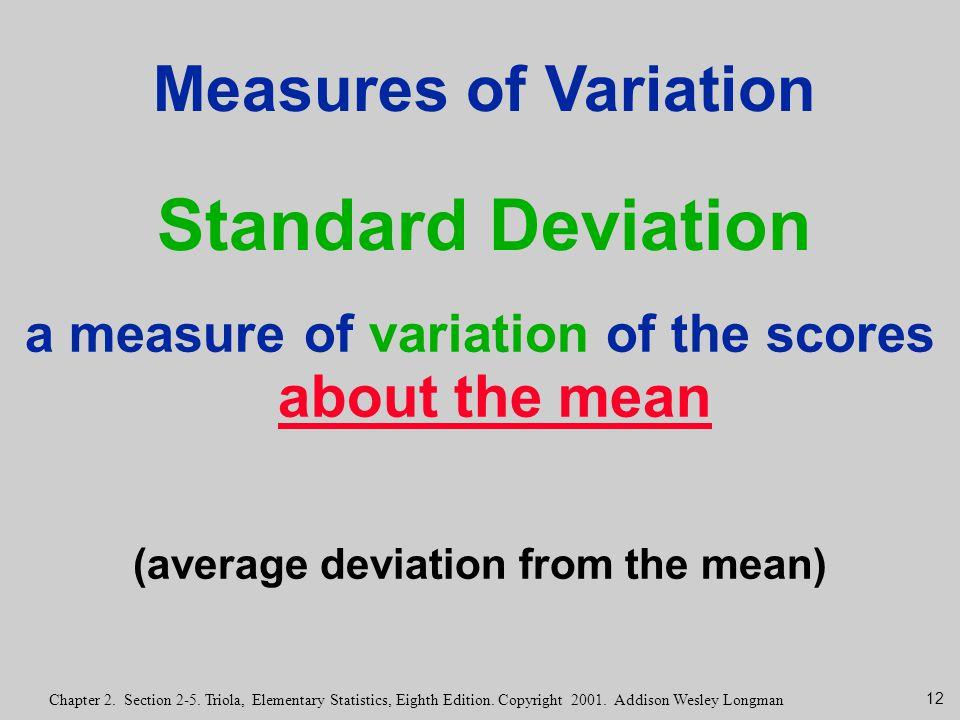 Measures of Variation Standard Deviation