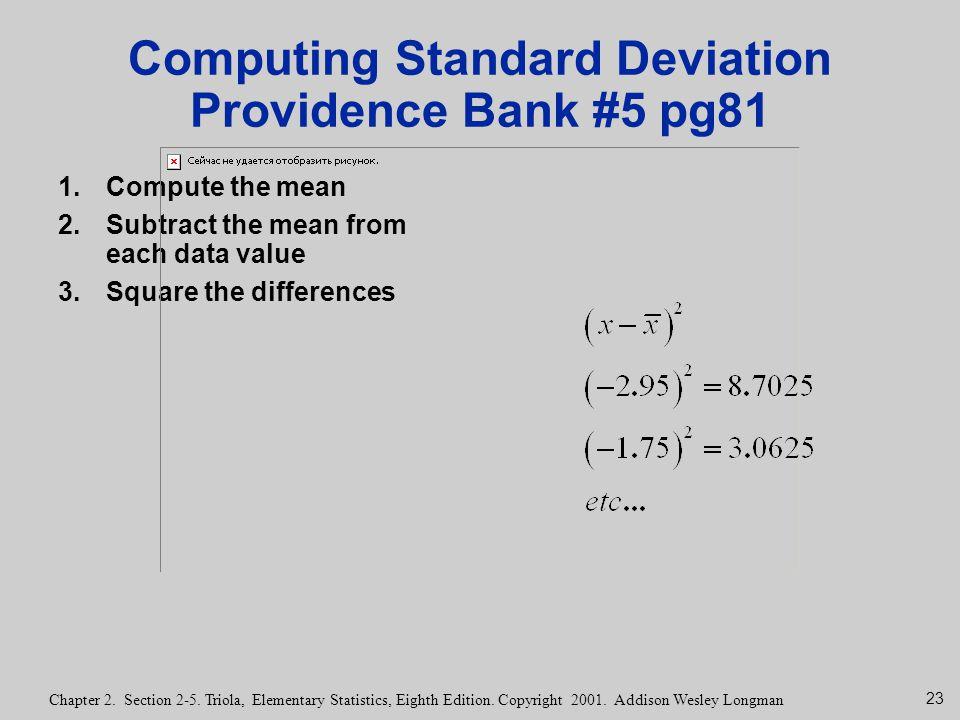 Computing Standard Deviation Providence Bank #5 pg81
