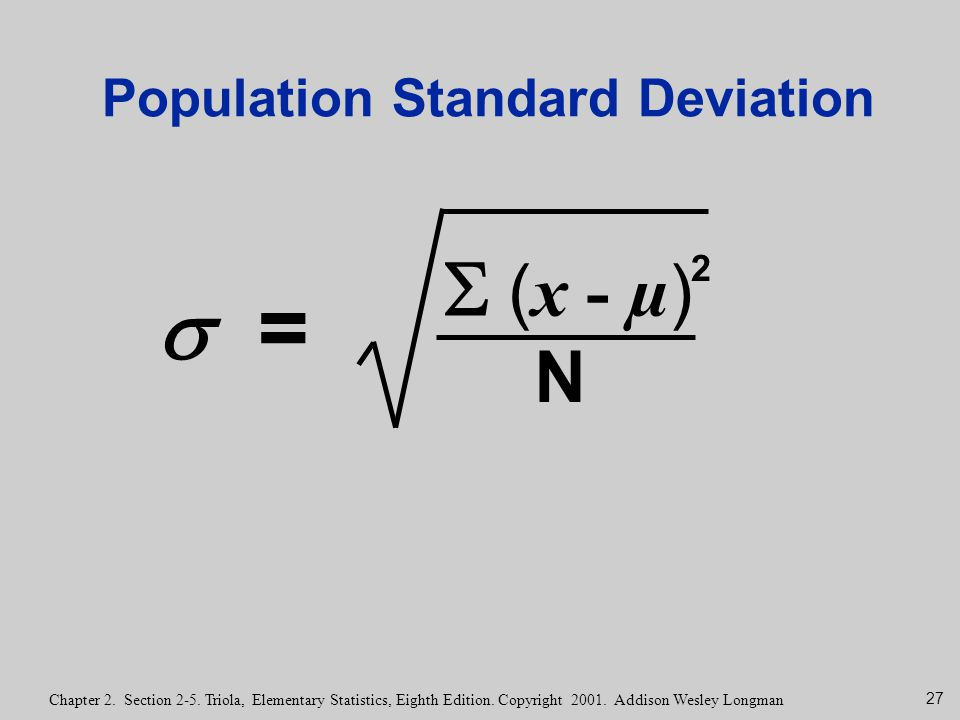 how to calculate population mean and standard deviation