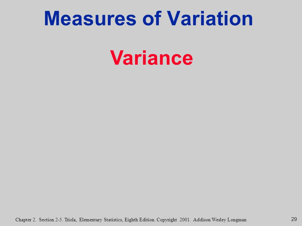 Measures of Variation Variance