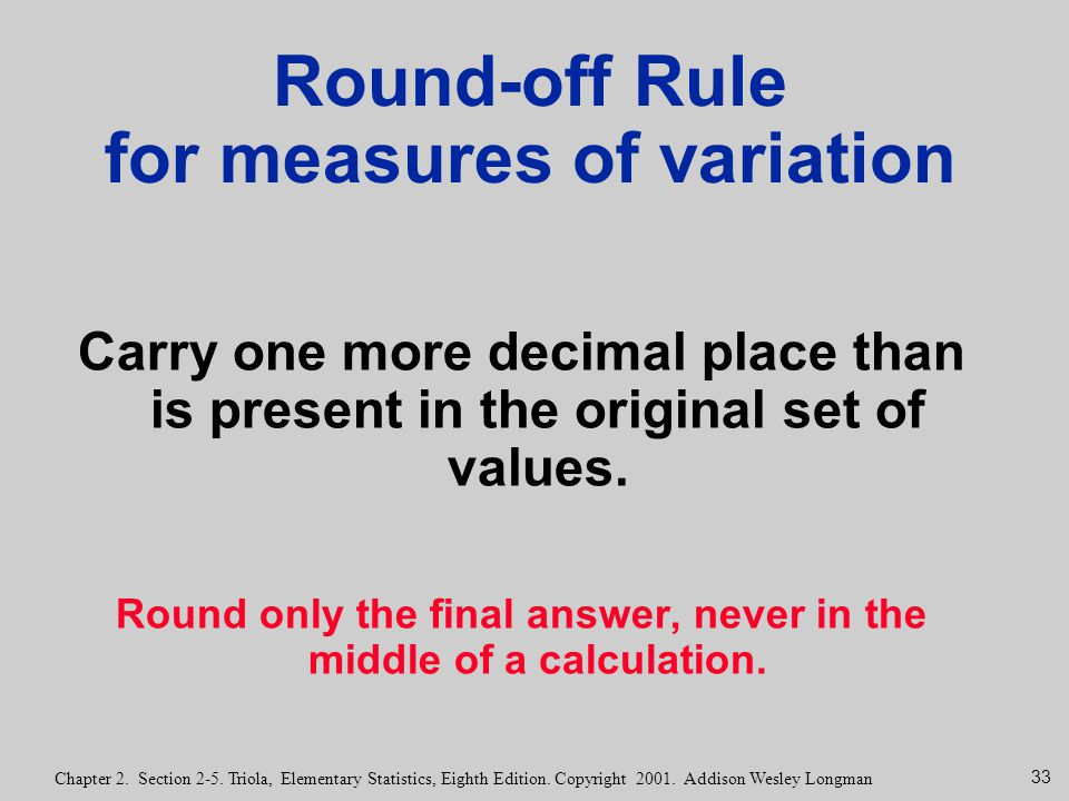 Round-off Rule for measures of variation