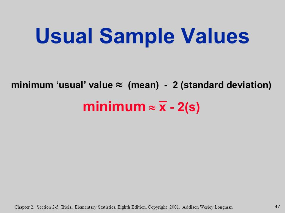 minimum 'usual' value  (mean) - 2 (standard deviation)