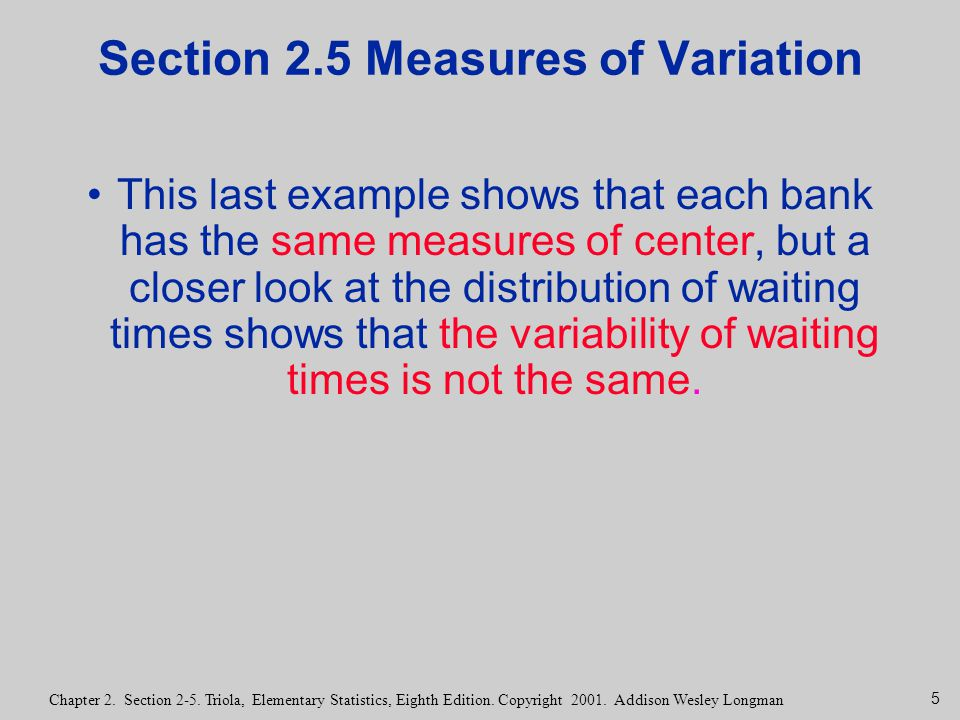 Section 2.5 Measures of Variation
