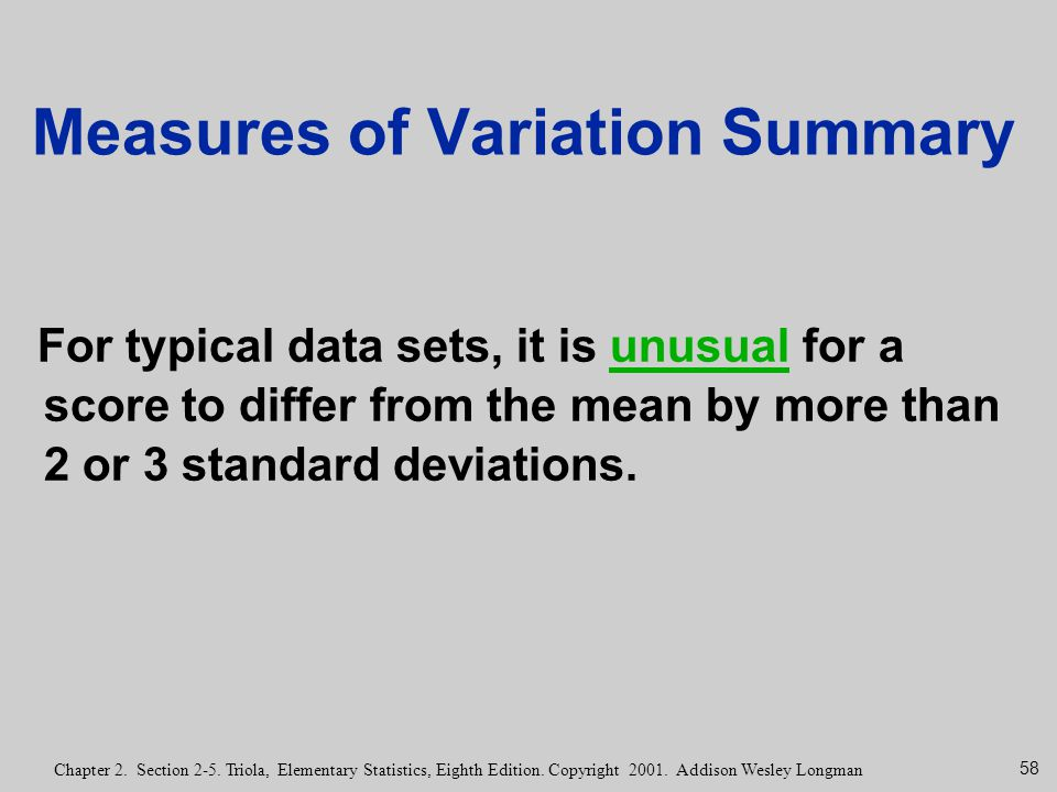 Measures of Variation Summary