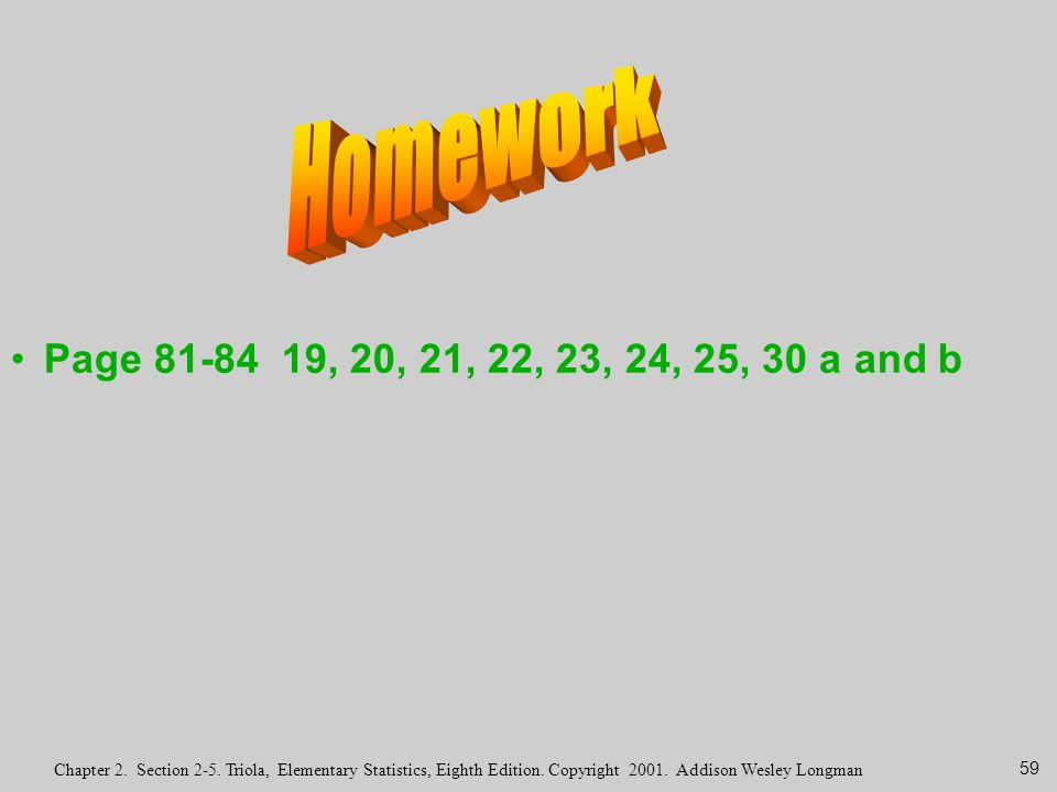 Homework Page 81-84 19, 20, 21, 22, 23, 24, 25, 30 a and b