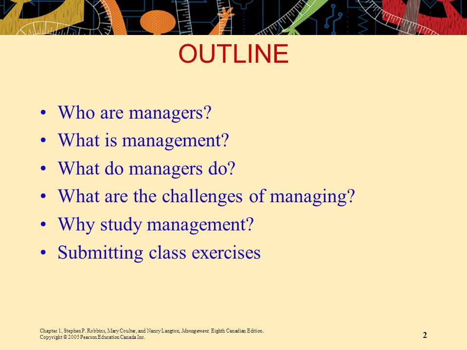 OUTLINE Who are managers What is management What do managers do