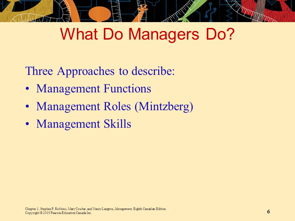 What Do Managers Do Three Approaches to describe: