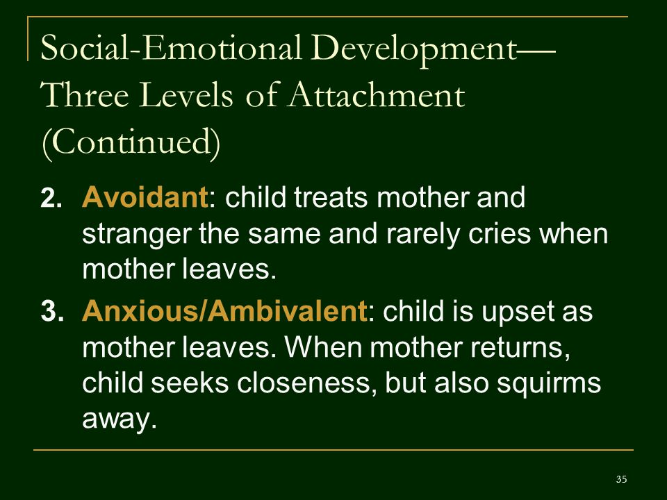 Social-Emotional Development—Three Levels of Attachment (Continued)