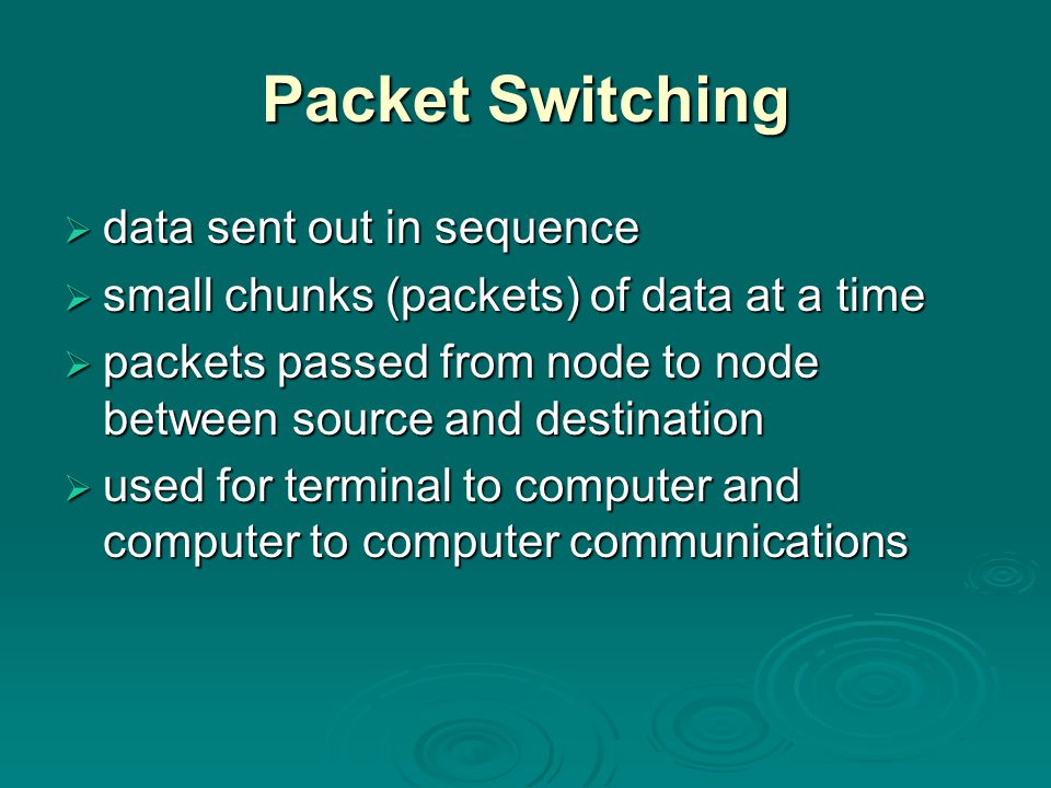 Packet Switching data sent out in sequence