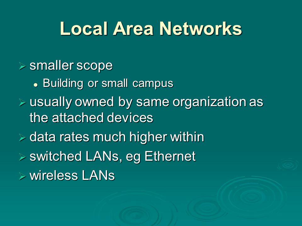 Local Area Networks smaller scope