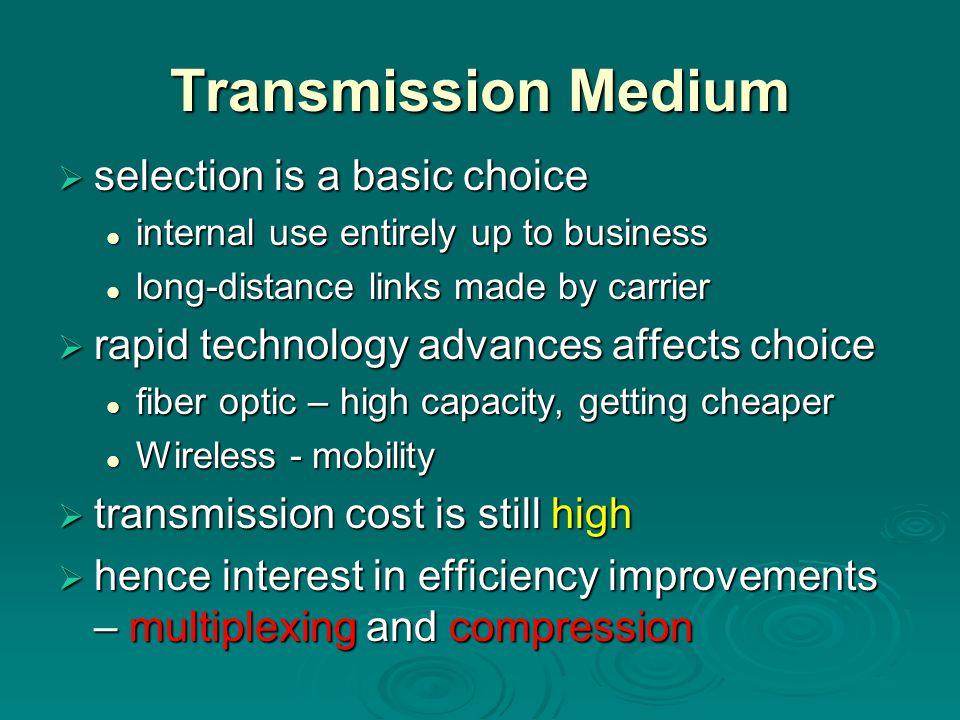 Transmission Medium selection is a basic choice