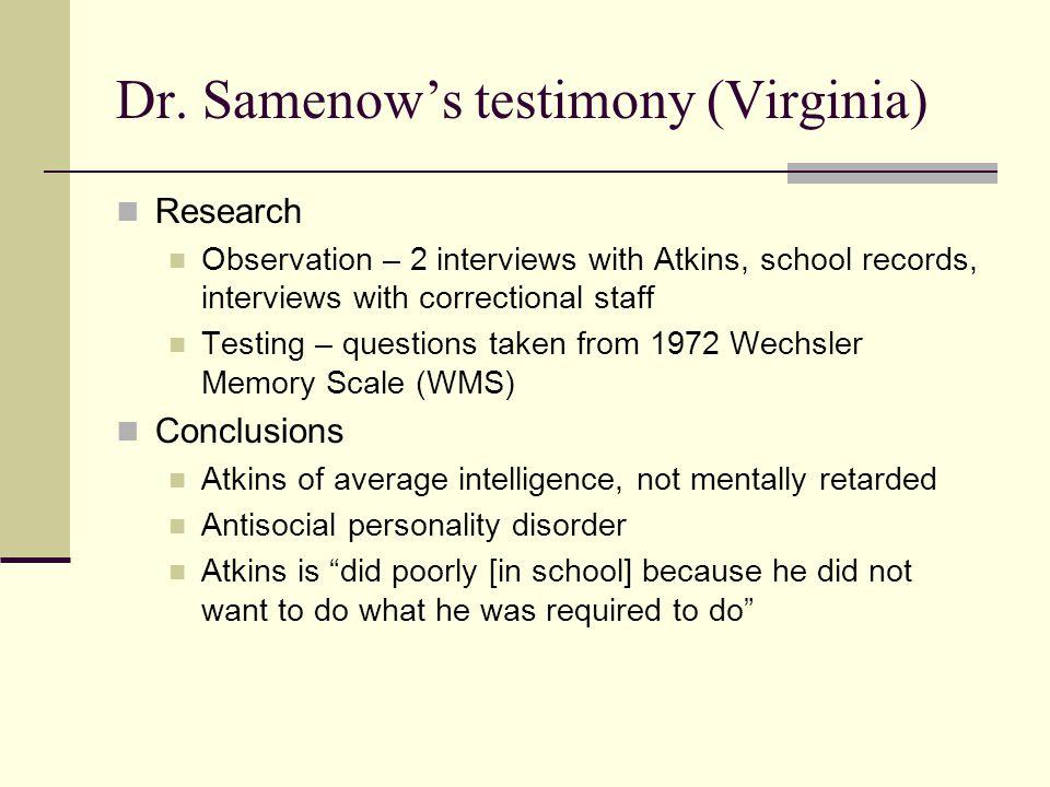 Dr. Samenow's testimony (Virginia)