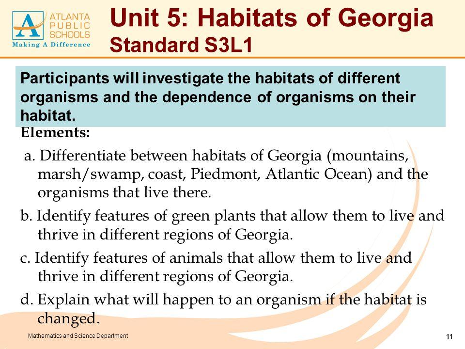 Unit 5: Habitats of Georgia Enduring Understandings