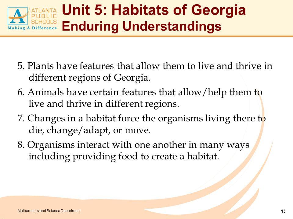 Unit 5: Habitats of Georgia Essential Questions
