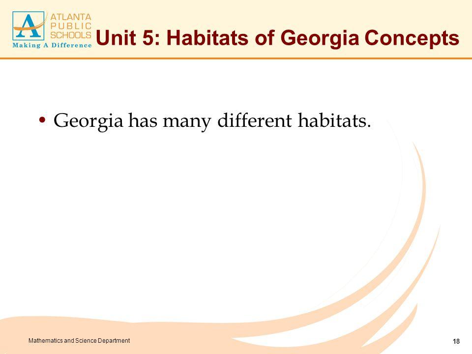 Unit 5: Habitats of Georgia Vocabulary